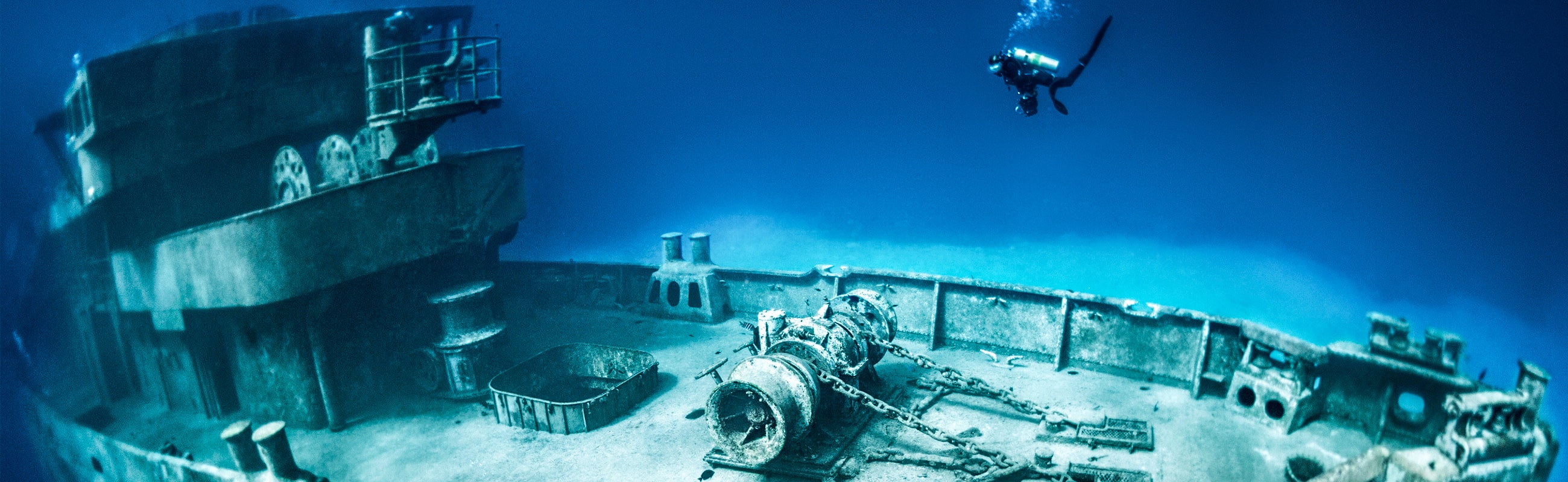 Exploration of the 250-foot Kittiwake wreck is just one site on afternoon boat dive packages